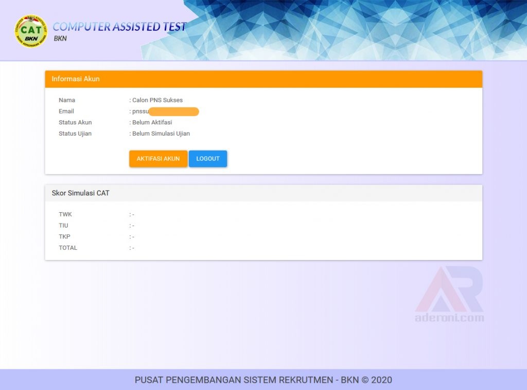 Kode Aktivasi Pendaftaran Simulasi CAT BKN Online Resmi