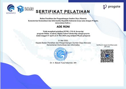 Sertifikast Pelatihan Online Academy Digital Talent Scholarship
