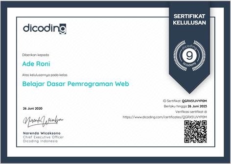 Sertifikat Pelatihan Dicoding Dasar Pemrograman Web