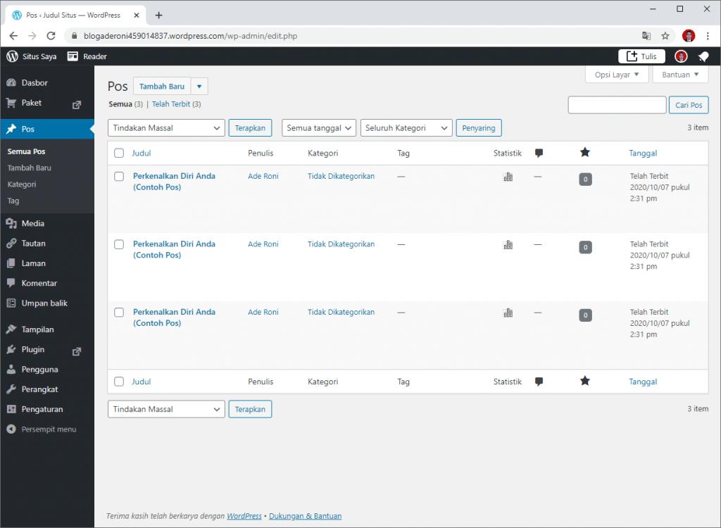 Cara Membuat Blog Gratis di WordPress.com Membuat Posting Blog