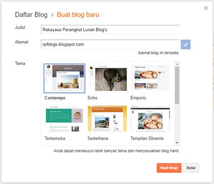 Langkah 5 Membuat Blog Ketik Nama dan Alamat Blog Anda